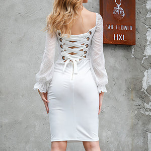 Lace Up Sexy Women Dress Patchwork Female Bodycon Transparent Dresses Club Party Feminino Dress Vestidos