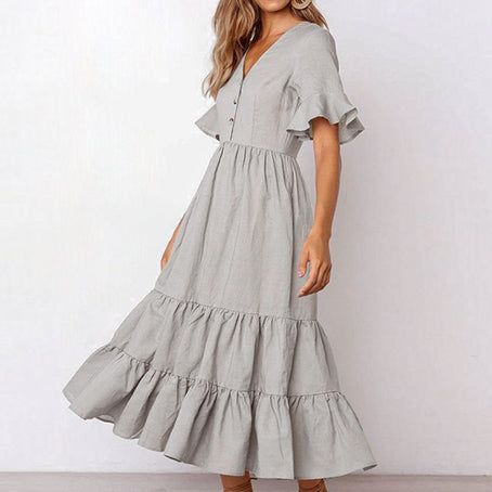 Women Elegant Gray Maxi Dress Female Casual High Waist Short Sleeve Long Dress V Neck Ruffle Vestidos Plus Size