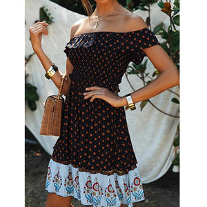 Women Casual Boho Print Short Holiday Dress Ladies Sexy Off Shoulder Ruffle Beach Short Dress Feminino Vestidos