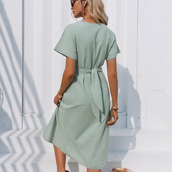 Cotton knotted straight women dress Casual O neck chic split dress Elegant green loose short sleeve ladies midi dress