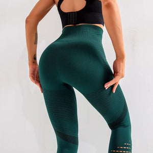 Women Seamless Energy Tights Workout Running Activewear Yoga Pants Hollow Sport Trainning Wear