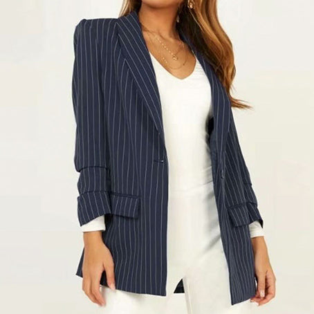Stripe Blue High Fashion Blazer Coat Women Elegant Feminino Coats Office Lady Coat