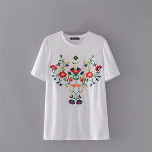Boho Summer Fashion Vintage Chic Women Floral Embroidery Short Sleeve T-shirt  Ladies Tops  CottonTee Shirt Camiseta Feminina