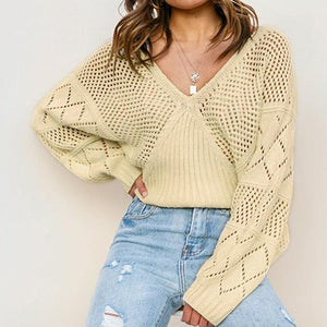 Women Fashion V Neck Hollow Out Pullovers Female Knitted Tops Sweaters Ladies Loose Patchwork Jumpers