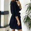 Dress Women Vintage Dress Solid Color Casual Loose Mid Waist Mini Dress Bow Elegant Dresses For Women