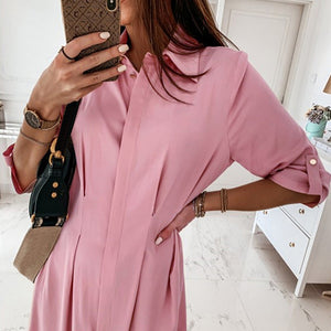 Women Long Sleeve Mini Dress OL Ladies Casual Work Plain Shirt Blouse Tops Women's Sundress