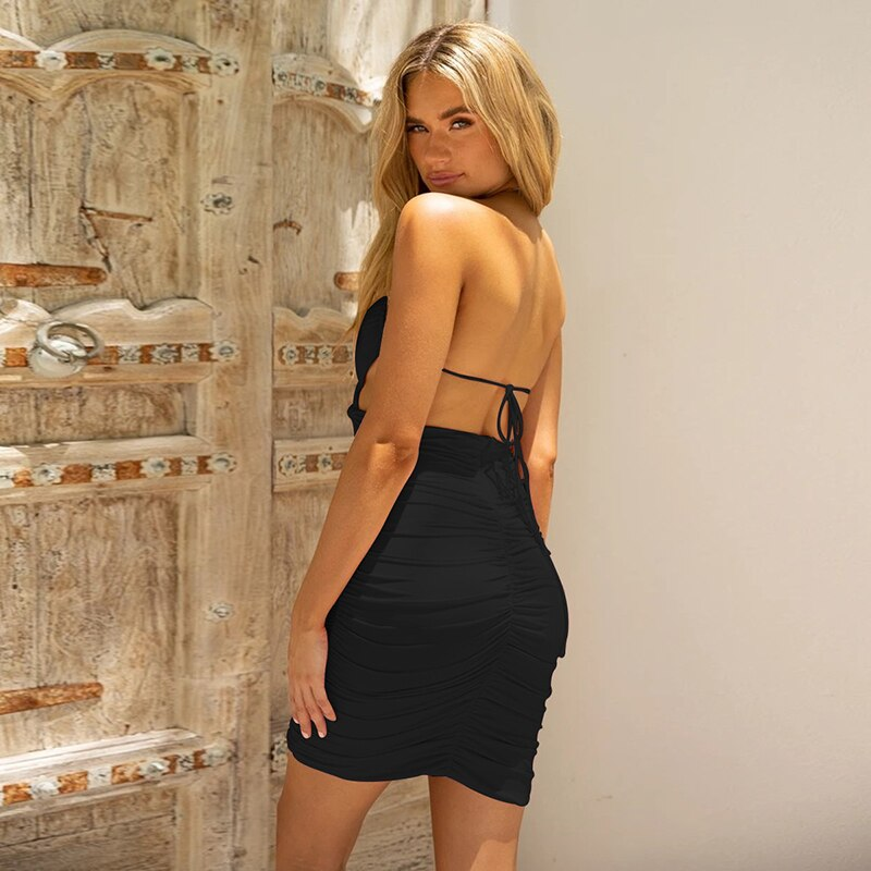 Women Sexy Dresses Ruched Halter Party Night Backless Bandage Bodycon Club Summer Dresses