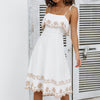 Embroidery Beach White Dress Women Spaghetti Strap Elegant Midi Dresses Ruffles Plus Size Ladies Dress Vestido