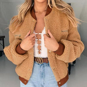 Shaggy Jackets Women Coats Casual Ladies Teddy Coats Patchwork Korean Outwear