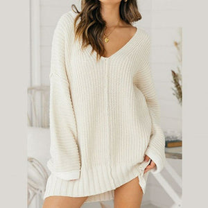 Oversize Knitted Sweater Women Solid White Ladies Pulllover Plus Size Femme Long Sweater Jumper