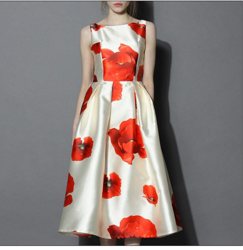 Women Midi Vestidos Elegant Printing Spring Autumn A-line Dress Women Slim Retro Dresses