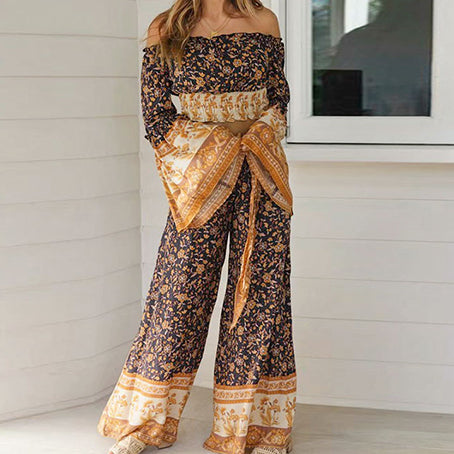 Long Sleeve Bohemian Jumpsuit Set Women Wide Leg Jumpsuits Bow Wladies Long Romper