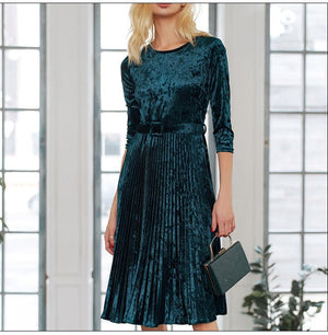 Women Velvet A Line Dress Winter O Neck Three Quarter Sleeve Pleated Dress Female Elegant Party Midi Vestidos
