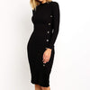 Women Fashion Button Knitted Midi Dress Female Long Sleeve Slim Fit Sweater Dress Lady Plus Size