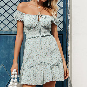 Holiday Short Dress Casual Floral Print High Waist Mini Dress Ladies Sexy Off Shoulder Lace up Mini Dress