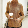 Women Flannel Pullovers Warm Turtleneck Long Sleeve Sweatshirt Female Pockets Jumpers Plus Size
