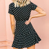 Fashion Polka Dot Double Breasted Short Dress Women Short Sleeve Mini Dress Ladies Casual Holiday Vestidos