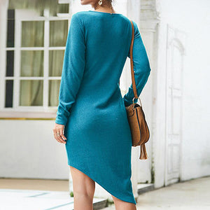 Women Fashion V Neck Sweater Dress Female Long Sleeve Knitted Short Dress Ladies Irregular Dress