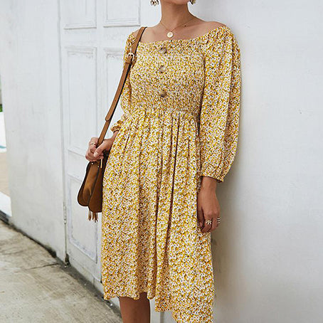 Women Flower Print Party Dress Female Vintage Square Elastic Midi Dress Ladies Plus Size Dress Vestidos