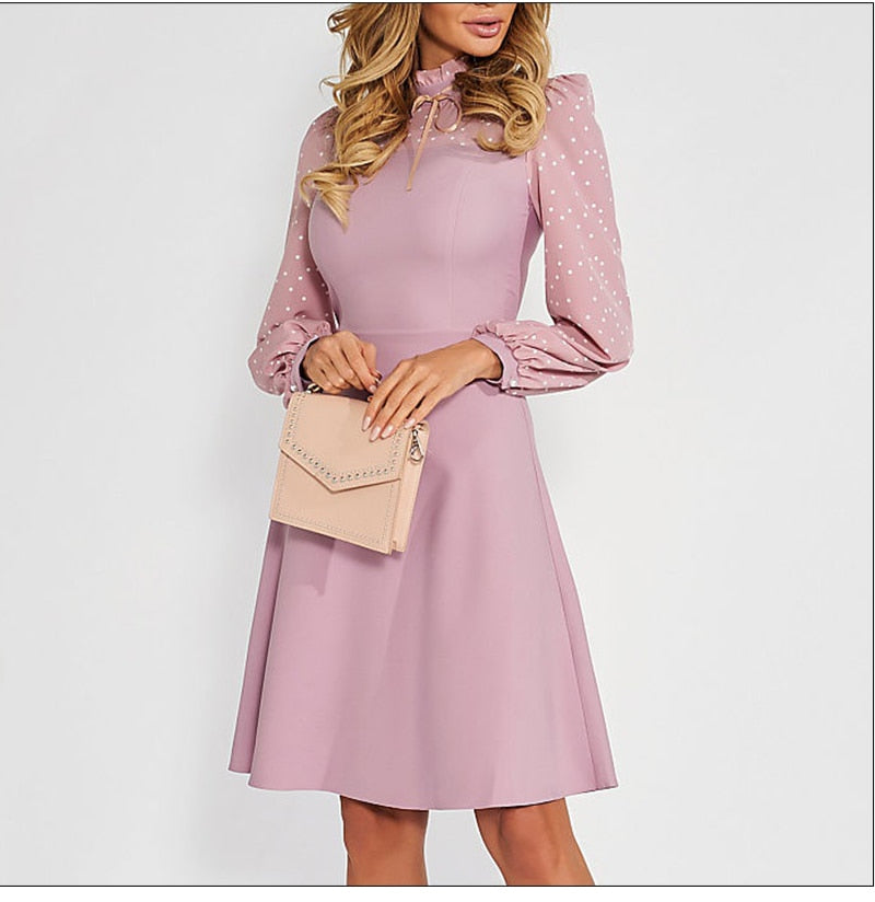 Women Autumn Long Sleeve Turtleneck Casual Dress Female Working Pencil Dress