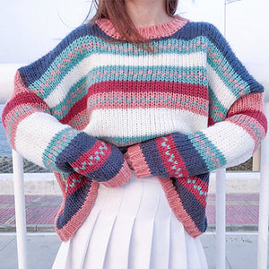 Rainbow Sweaters Women Patchwork Knitted Ladies Oversize Sweaters Pullover Casual Knitwear