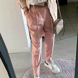 Plaid Casual High Waist Pants Women Vintage Pencil High Fashion Trousers Holiday Ladies Beach Pants