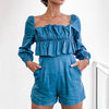 Fashion Women Long Sleeve Jumpsuit With a zipper Casual Ruffle High Waist Rompers Denim Short Jumpsuit