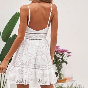 Sexy Lace White Party Dress Women Sexy Feminino Short Dress Button Female Plus Size Dresses Robe Vestidos