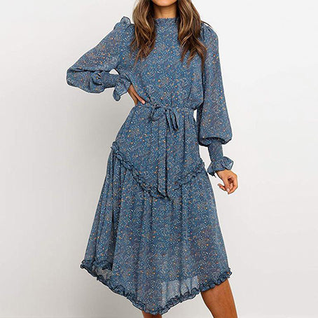 Blue Print Turtleneck Dress Women Fashion Long Sleeve Ruffle High Waist Midi Dress Ladies Elegant Party Dress Plus Size