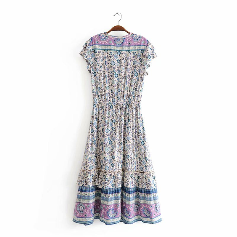 Vintage Chic Women Floral Print Sleeveless Beach Bohemian Midi Dresses Ladies Tassel Lace Patchwork Summer Boho Dress Vestidos