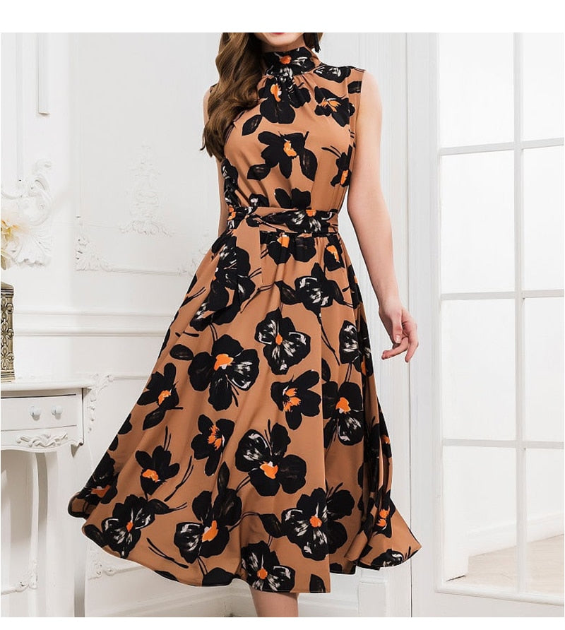 Women Summer Dress Elegant Foral Print Turtleneck Midi Dress Sleeveless A Line Beach Party Vestidos