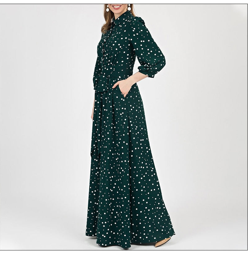 Women Turn-Down Lantern Sleeve Long Dress Autumn Casual Dress Female
