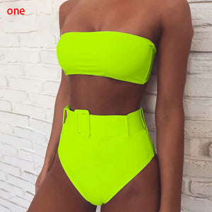 Women High Waist Neon Bikini Belt Swimwear Bandeau Swimsuit Female Bathing Suit Bathers Biquini