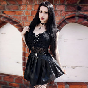 Women Gothic Streetwear Mesh Hollow Out Patchwork Sleeveless Bodysuit Female Black Body Party