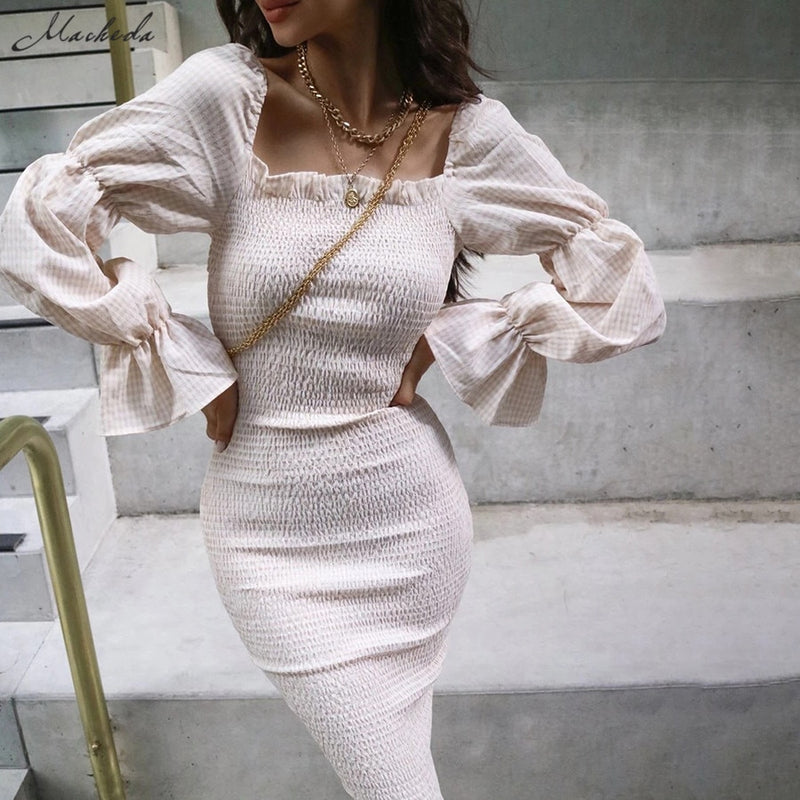 Women Ruffles Elegant Bodycon Midi Dresses Lady Slim Pleated Casual Clothing