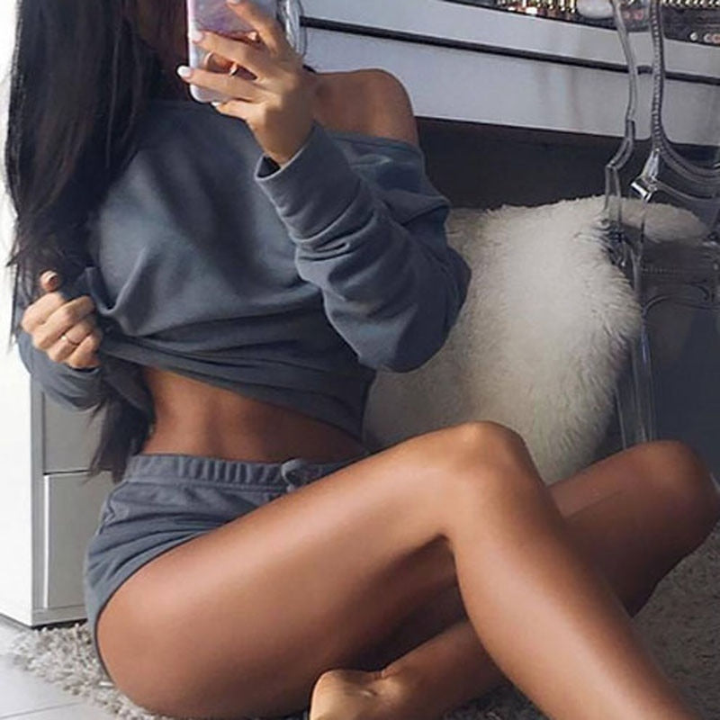 Women Sets Cropped Tops Shorts Set 2 Pieces Women Tracksuit Cotton Blend T Shirts Shorts