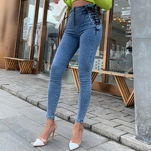 High Waist Hips Tight Jeans Female Sense Europe and The United States Spring and Summer Slim Feet Pants Nine Pants