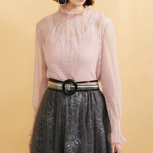 Fashion Casual Women's Mock Neck Puff Sleeves Polka Dot See-through T-shirt