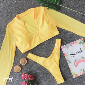 Women High Cut Two-Piece Suits Mesh Long Sleeve Bikini Push Up Swimsuit Sexy Thong Swimwear Bathing Suit