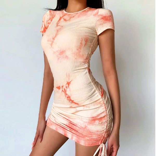 Tie Dye Print Orange Casual Mini Dress Women Ruched Drawstring Short Dresses Ladies Short Sleeve Bodycon Dress