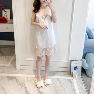 Nightgown Ladies Dress Lace Sexy Nightdress Backless Night Wear Sexy Cross Bandage Satin Nightwear Lingerie Nightgown