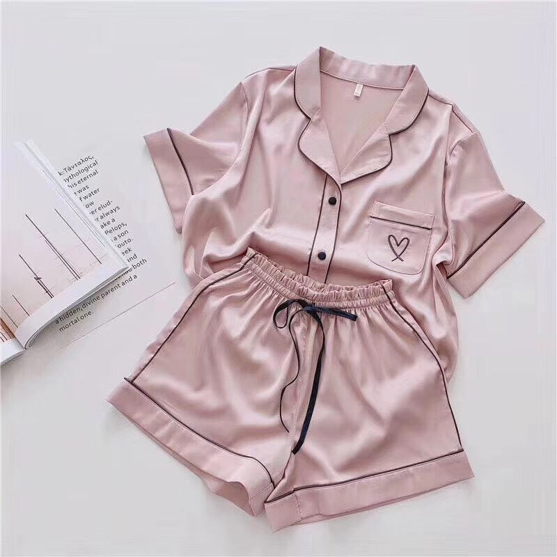 Pajamas for Women Silk Home Wear Short Sleeve Loungewear Pyjamas Women Pijama Sleepwear Pj Set Satin Nightwear Set