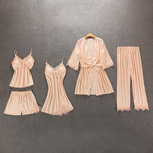 Sexy Women Pajamas 5 Pieces Sets Satin Sleepwear Pijama Silk Home Wear Embroidery Sleep Lounge Pyjama with Chest Pads