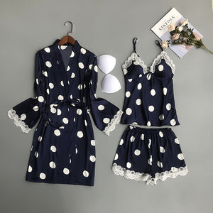 Women Satin Sleepwear Polka Dot Pyjamas Women Silk Pijama Mujer Cute 3 Pieces Sets with Chest Pads Casual Pajama Sets