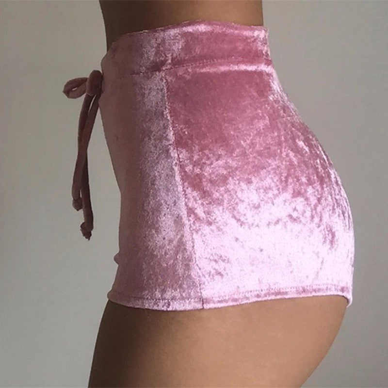 Women Velvet Drawstring Shorts Plus Size Casual High Waist Winter Skinny Booty Shorts Feminino