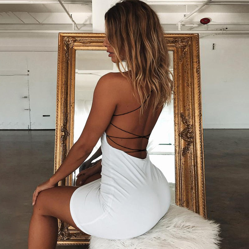 Women Solid Color Backless Spaghetti Straps Nightclub Dress Bodycon Evening Party Low Neck Mini Dress