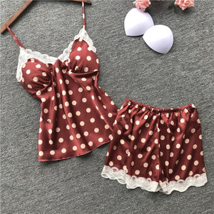 Sexy Women Pajamas with Chest Pad Satin Flower Print Pijamas Female 2 Piece Set Summer Pajamas for Women Pyjama Nightsuits