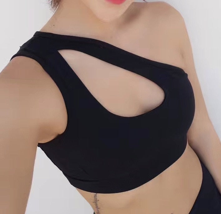 Sexy Women Yoga Sport Bra Single Shoulder Strap Sexy Clothes for Sports Womens Gym Clothes Women Sport Bra Top