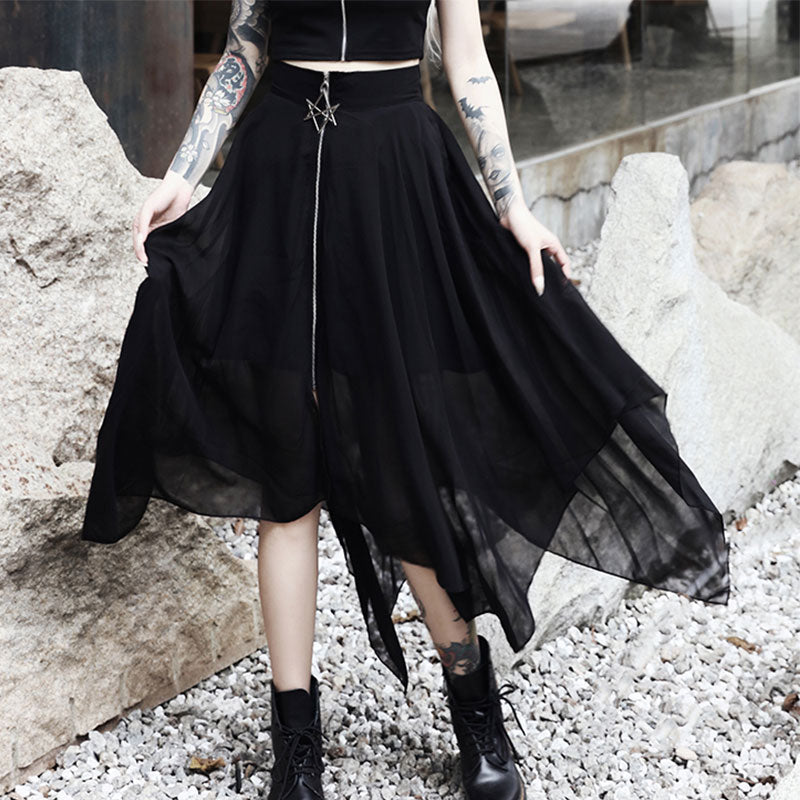 Women Skirts Pentagram Zipper Black Punk Skirts Gothic Darkness Lady Skirt Casual Loose Streetwear Skirts
