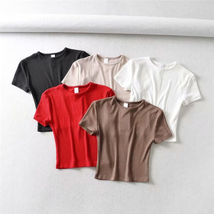 Summer Fashion Women T-shirt Punk Crop Top Cotton T-shirt Female Loose Dance T Shirt Tops Oversize